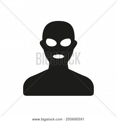 Simple icon of evil man in mask. Offender, criminal, terrorist. Police concept. Can be used for topics like public order, crime, health and safety