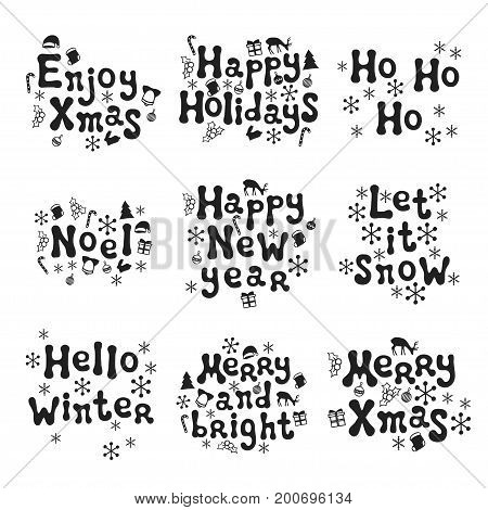 Christmas and New Year calligraphy phrases set. Handwritten brush seasons lettering collection. Xmas phrases. Hand drawn design elements. Happy holidays. Greeting card text. Christmas calligraphy