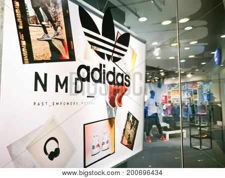 Bangkok Thailand - July 18 2017 : Adidas Originals Shop At Central World on July 18 2017. Adidas Originals Symbol Display Show At Storefront Of Retail Store With The Most Popular Sneakers