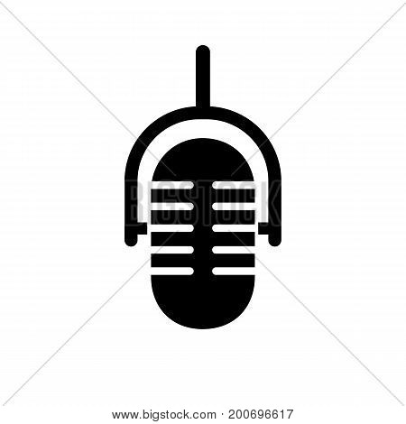 Simple icon of studio microphone. Recording studio, singing, pop music. Music concept. Can be used for topics like entertainment, sound, technology