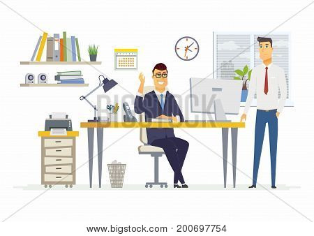 Office Scene - vector illustration of a business situation. Cartoon people characters of young, male colleagues, men, partners discussing work. Manager, supervisor, specialist talking, giving ideas