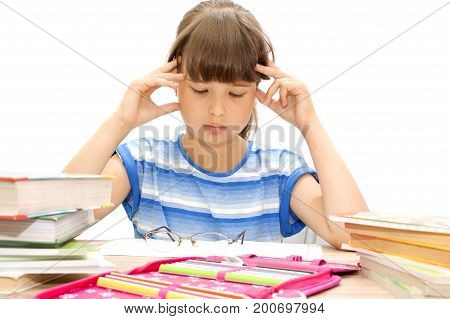 student with book on white background. September 1. The day of knowledge.