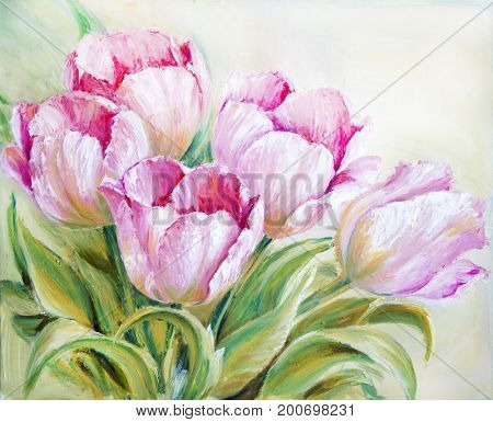 Pink Tulips flowers blossom bouquet, oil painting on canvas
