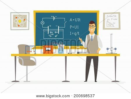 Physics Classroom - modern vector character illustration of young male school teacher at the blackboard with schemes, educational drawing explaining Ohms law. Circuit, visual aids, equipment