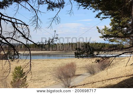 Beautiful views of the river and spring nature