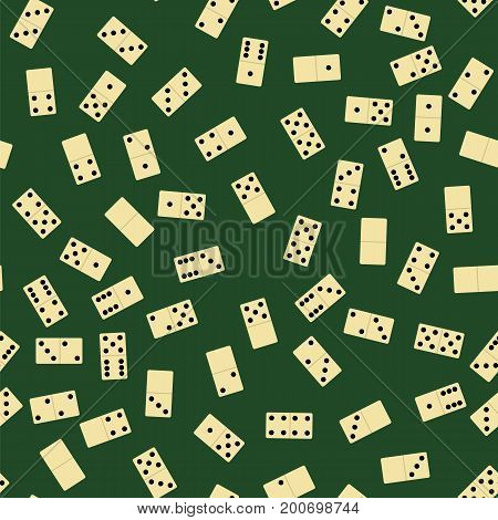 Domino Seamless Pattern Isolated on Green Background. Board Game Texture