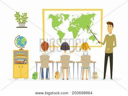 Geography lesson at school - modern cartoon people characters illustration with children listening to a young teacher, raising hands. Classroom with different visual aids, board, globe, desk, pointer