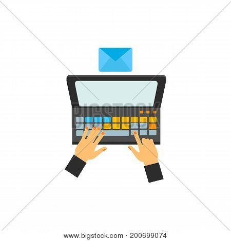 Icon of composing e-mail. Hands, laptop, envelope, technology. Contact center concept. Can be used for topics like it support, correspondence, business