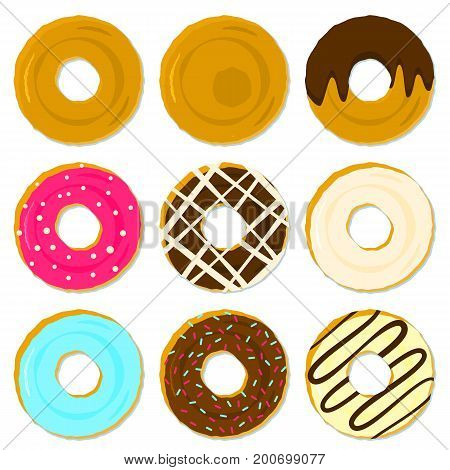 Colorful tasty fried brown donuts with different topping and strewing. Cute delicious sweet vanilla, chocolate dessert food icon for shop, bar and cafe menu design