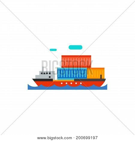 Icon of container ship. Cargo ship, floating, containerization. Seaport concept. Can be used for topics like transportation, shipping, freight