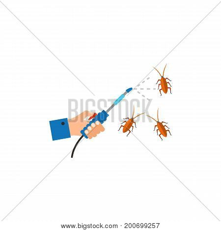 Icon of destruction bug. Hand, spraying, cockroach. Pest control concept. Can be used for topics like killing insects, device, insects in home