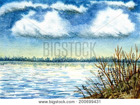 River landscape, forest on the horizon, rocky coast and cumulus clouds. Hand-painted watercolor illustration and paper texture