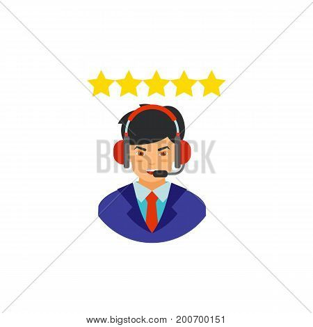 Icon of operator rating. Manager, headset, hands-free device. Contact center concept. Can be used for topics like occupation, grade, customer service