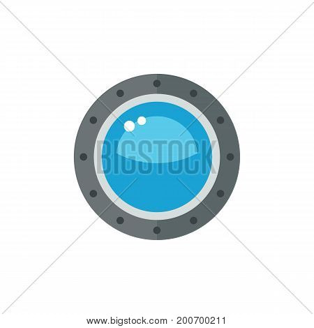 Icon of porthole window. Glass, bulls-eye window, circular. Seaport concept. Can be used for topics like underwater, maritime, vessel