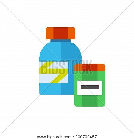 Icon of protein bottles. Jar, strength recovery, athletes nutrition. Sport vitamins concept. Can be used for topics like dietary supplement, bodybuilding, sport nutrition