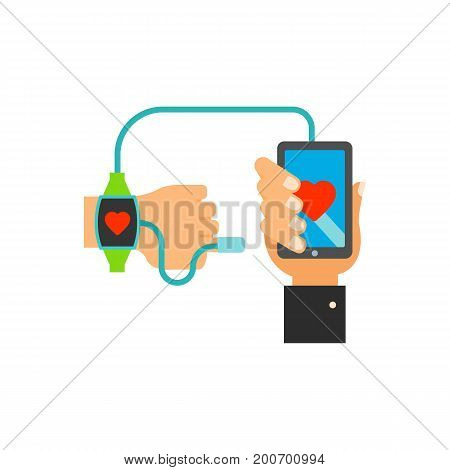 Icon of tracking health. Wristwatch, smartphone, cable. Medical devices concept. Can be used for topics like helpful tool, health care, wellness, fitness app