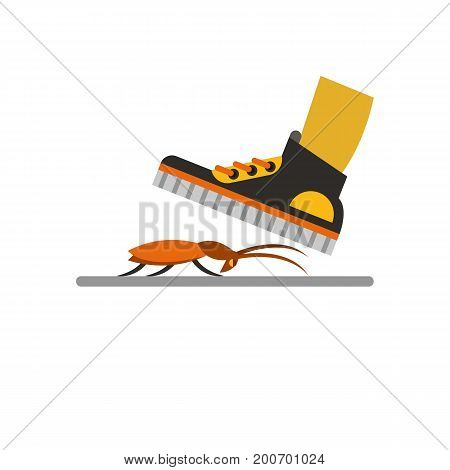 Icon of trample cockroach. Step, sneakers, shoe. Pest control concept. Can be used for topics like destruction bug, cockroach in home, insects problem