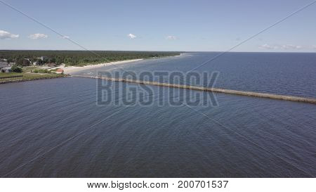 Harbor Roja Latvia Aerial View Of Countryside Drone Top View
