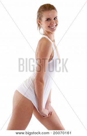 Woman With Beautiful Slim Body In White Shirt