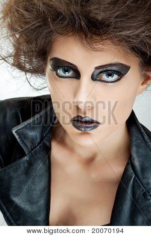 Fashion Model In Black Leather Jacket