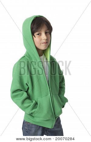 Cool little boy with a hood