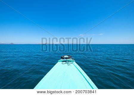 Front View of The long tail boat (Local boat) in Kanawa Island Flores Sea Nusa Tenggara Labuan Bajo Indonesia