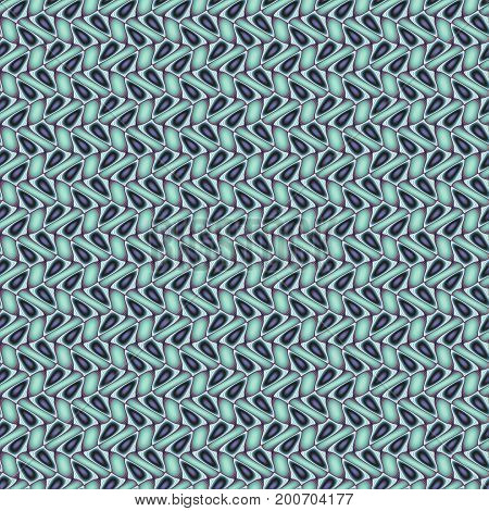 Abstract multicolored illustration. Seamless pattern. Dark lobes and turquoise rectangles on a light background. Mosaic texture. Computer generated