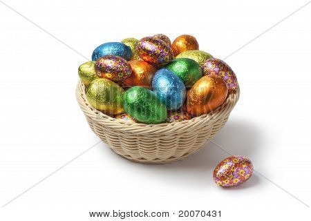 Easter eggs in colored foil