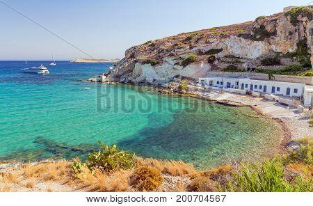 Rema beach in Kimolos island, Cyclades, Greece