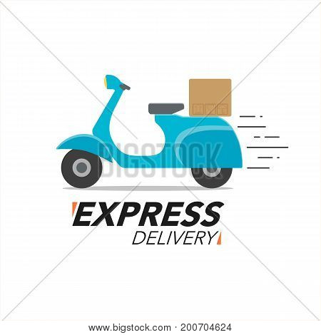 Express Delivery Icon Concept. Scooter Motorcycle Service, Order, Worldwide Shipping.