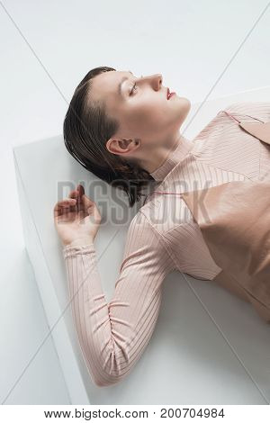 Girl In Turtleneck And Slk Dress