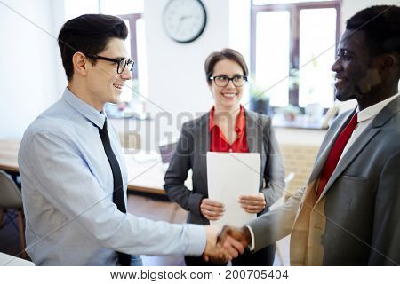 Employers from business corporation hiring new applicant in company