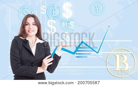 Happy Business Woman Presenting Financial Growth
