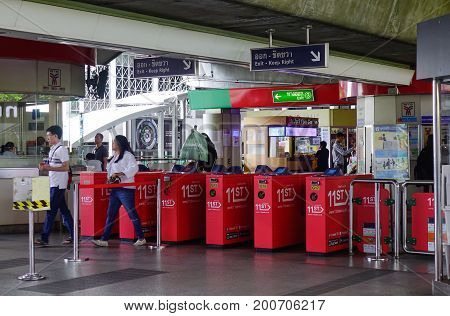 Entrance Gates Of Bts Station In Bangkok, Thailand