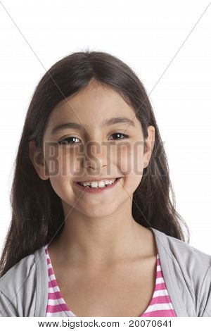 Smiling eight year old girl