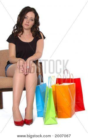 Beautiful Girl After A Long Shopping Day