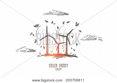Green energy concept. Hand drawn wind turbine farm. Windmill as symbol of renewable, sustainable and alternative energy isolated vector illustration.