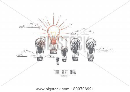 The best idea concept. Hand drawn light bulb as creativity. Balloons with light bulbs as symbol of lot ideas but only one of them is the best isolated vector illustration.