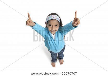 Eight year old girl raising fingers