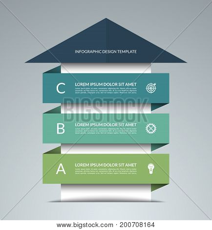 Up arrow infographic template. Business growth concept. Can be used for workflow layout, diagram, chart, number and step options, web design. Vector illustration