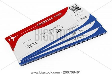 Boarding Pass With Fictitious Numbers And Names. 3D Illustration