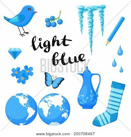 Light Blue. Learn the color. Education set. Illustration of primary colors. Vector illustration