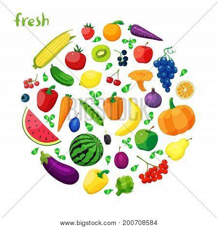 Set of vegetarian food . Vector vegetarian organic healthy food cuisine. organic natural realistic vegetable and fruits.