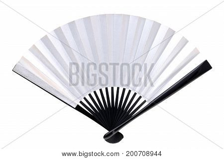 traditional chinese style silver hand fan isolated on white background