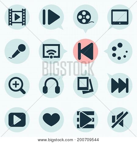 Music Icons Set. Collection Of Forward, Signal, Album And Other Elements
