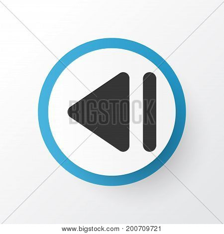 Premium Quality Isolated Previous Element In Trendy Style.  Slow Backward Icon Symbol.