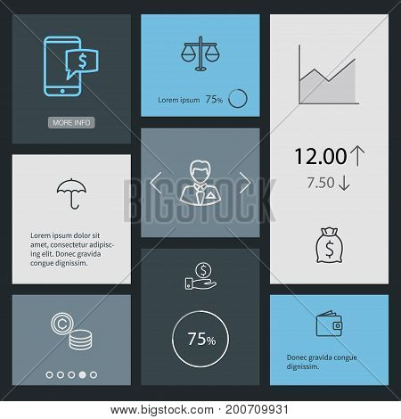 Collection Of Coins, Moneybag, Businessman And Other Elements.  Set Of 8 Finance Outline Icons Set.