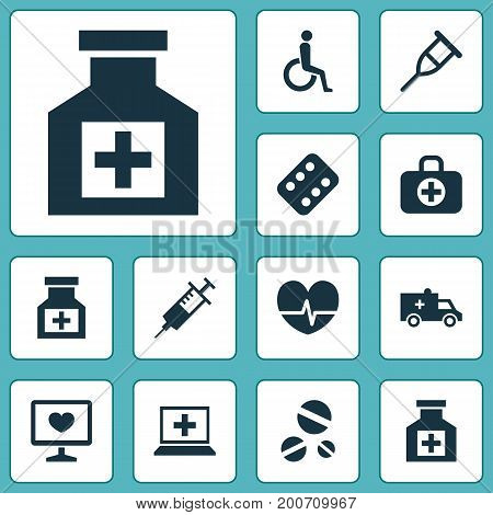 Medicine Icons Set. Collection Of Stand, Remedy, Database Elements