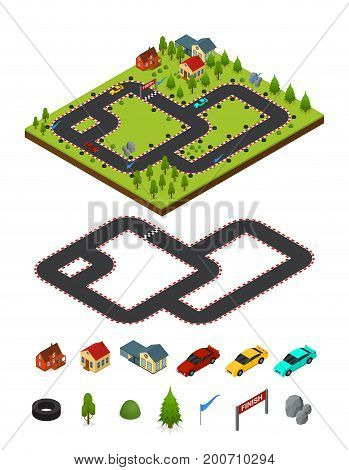 Track Racing Car and Element Set Isometric View. Landscape with Trees and Mountain Vector illustration