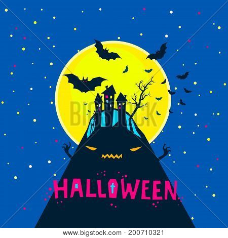 Halloween illustration. Bats flying over a horrible hill in the night with a full moon on dark blue background.